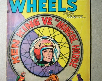 Old Comic Book, World of Wheels #29, 1960s, Ken King vs The Mongol Horde, Charlton Comics, Motor Racing, Bike Racing, Off Road Racing, Cool