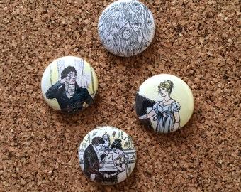 Pride & Prejudice 1-inch pinback buttons (Set of 4)