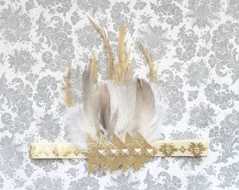 Adorable Aztec Cream Gold Feather Headband Gold Dipped Feather Headdress for Baby Girl 0-12 Months First Birthday