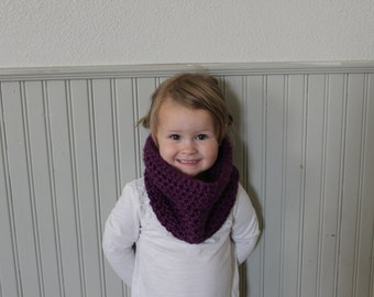 Crochet simple scarf cowl / |the Benbrook|/ Toddler Child/ any color-Purple