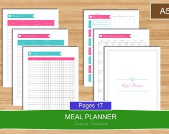 A5 Meal Planner Set, Menu planning Printable planner set, A5 meal planner, A5 size planner, Menu planner, Meal PDF Planner, Instant Download
