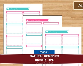 A5 Natural Remedies and Homekeeping Planner Organizer Set, Beauty tips, natural remedies, homekeeping tips, A5 planner set, Instant Download