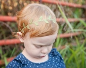 Olive Green Leaf Halo Crown | Green Leaf Headband | Baby Girl Crown