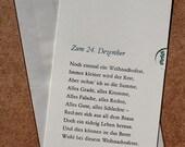 Weihnachts-Klappkarte »Zum 24. Dezember« (Theodor Fontane), Buchdruck, Bleisatz auf Munken pure mit Kuvert