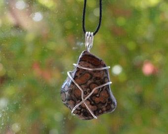 Wire Wrapped Brecciated Jasper Pendant