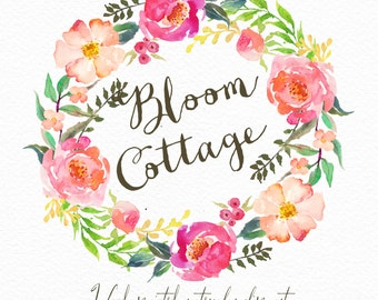 Watercolor flower wreath-Bloom cottage /Individual PNG files / Hand Painted