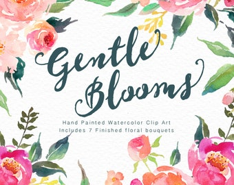 Watercolour Floral Clip Art-Gentle Blooms/ Individual PNG files/Hand Painted/wedding