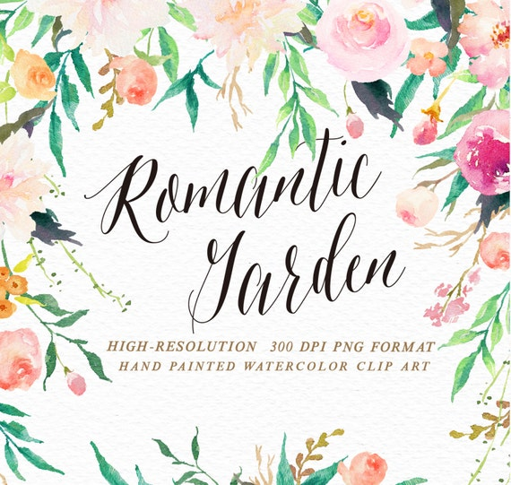 Watercolor Flower Clip Art Romantic Garden Wedding