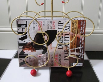 Decorative & useful little wirework magazine rack~Creamy paintwork with red-painted wooden ball feet~Prettiest vintage storage