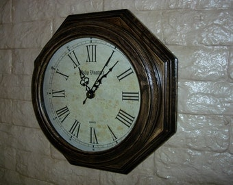 Wood  Wall Clock  from Caucasus Oak (8square) with patina