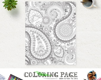 adult printable coloring page paisley pattern printable coloring book adult antistress art therapy instant download zen - Therapy Coloring Pages Printable