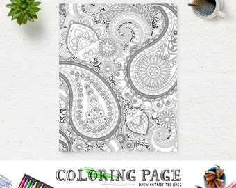 Adult Printable Coloring Page Paisley Pattern Book AntiStress Art Therapy Instant Download Zen