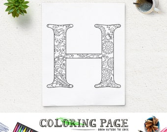 Coloring letter h  Etsy