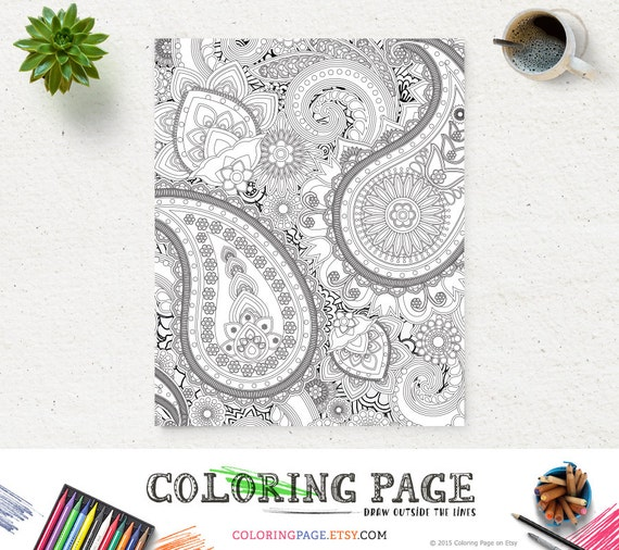 Adult Printable Coloring Page Paisley Pattern Printable