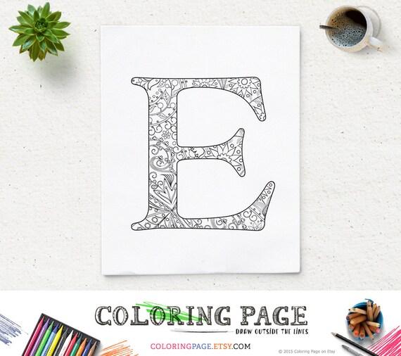 SALE Floral Alphabet Coloring Page Printable Letter E Instant Download Pages Digital Art Adult Zen Therapy