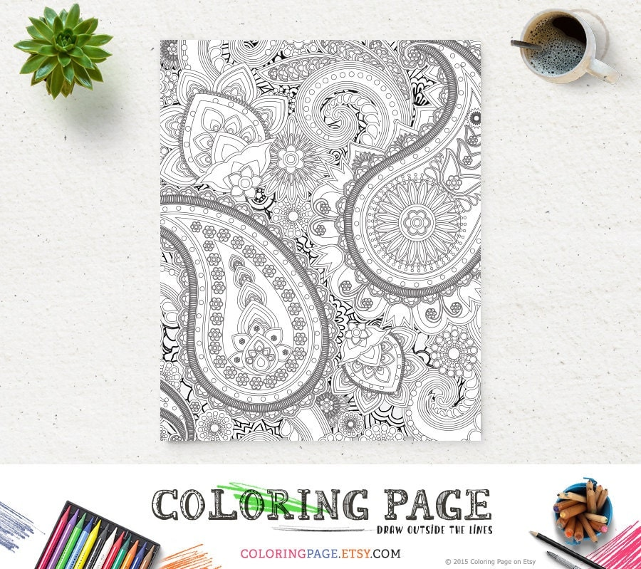 Printable Coloring Pages Zen : Adult printable coloring page paisley pattern
