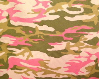 Pink Camouflage Print Cotton Twill Fabric-By-The-Yard