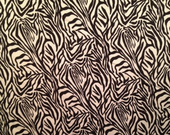 Light Gray and Black Zebra Print Flannel Fabric-By-The-Yard