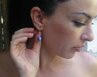 Blue heart czech glass earrings