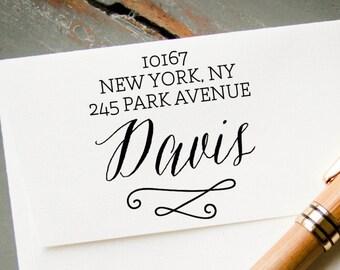 Custom Return Address Stamp, Modern Calligraphy Font, Custom Pre-Inked Stamp, Personalized Stamp, Custom Stamp, Wedding Stamp