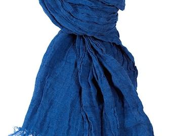 Organic Scarf - Dark Blue Scarf - Natural Linen - Woman Scarf  - Man Scarf - Organic Scarf - Linen Shawl