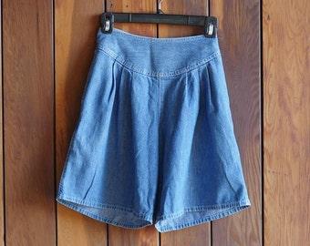 80s Calvin Klein High Waist Jean Shorts CK Jean Shorts Denim Bermuda Shorts