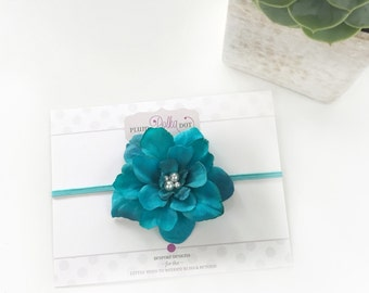 Turquoise Flower Headband, Baby Headband, Turquoise Headband, Newborn Photo Prop, Turquoise Baby Headband, Hair Accessories for Girls