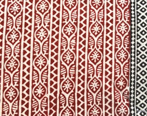 Ogee pattern Vegetable dyed block print fabric Indian cotton fabric by the yard