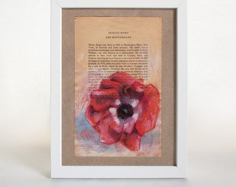 Poppy #1 Art Print, Pastel, Collage, Wall Art, Botanical Print, Floral Print, Home Decor, Gallery Wall, Poppies, Gifts Under 50