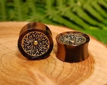 Mandala plugs wood gauges, brass ear plugs, double flare tribal tunnels geometric gold sono wood 1/2 9/16 5/8 11/16 3/4 7/8 inch