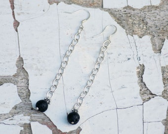 Long Chain Lava Stone Earrings-- Essential Oil Earrings
