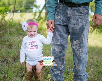 Embroidered Baby Girl Bodysuit Onezie - Daddy's Little Hunting Princess