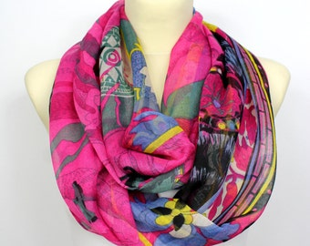 Boho Infinity Scarf - Pink Printed Infinity Scarf - Unique Fabric Scarf - Women Fashion Accessories - Gift Idea for her - Summer Autumn