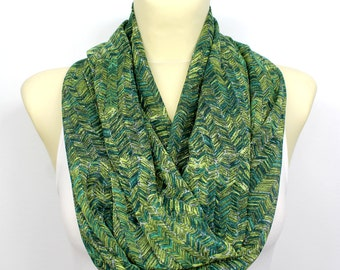 Green Fashion Scarf - Infinity Scarf - Geometric Loop Scarf - Circle Fabric Scarf - Women Shawl - Tube Unique Scarf - Printed Scarf