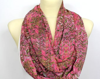 Pink Fashion Scarf - Infinity Scarf - Geometric Loop Scarf - Circle Fabric Scarf - Women Shawl - Tube Unique Scarf - Printed Scarf
