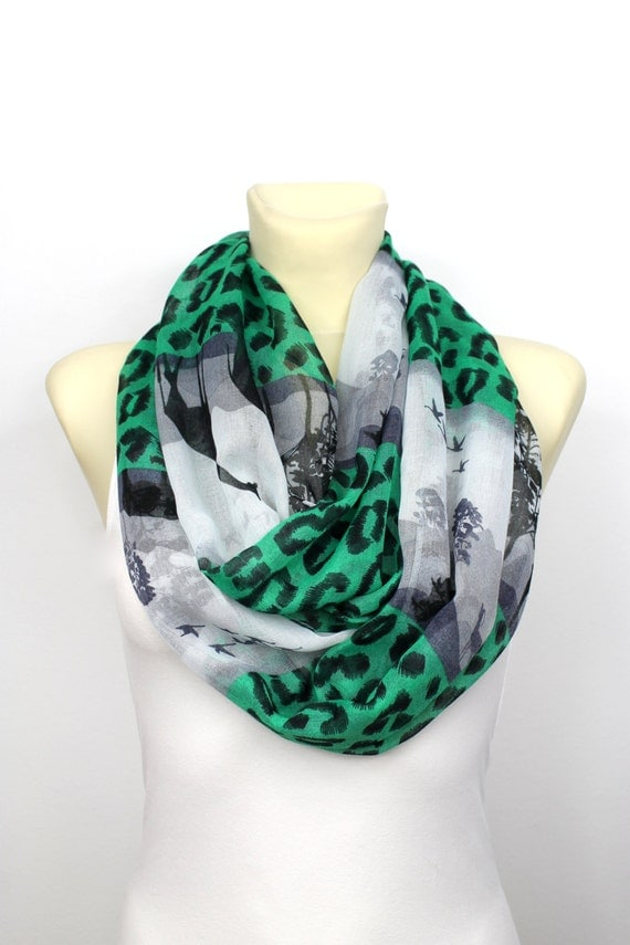 Infinity Print Scarf - Printed Loop Scarf - Leopard Infinity - Unique Fabric Scarf - Boho Fashion Scarf - Valentines Gift For Her