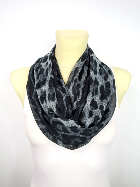 Leopard Print Scarf Infinity Scarf Black Leopard Scarf Spring Summer Autumn Womens Scarves Unique Handmade Scarves Gift for Her Boho Gifts