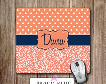 Personalized Mousepad Navy and Coral, Personalized mouse pad, Cute office accessories, Custom mouse pads