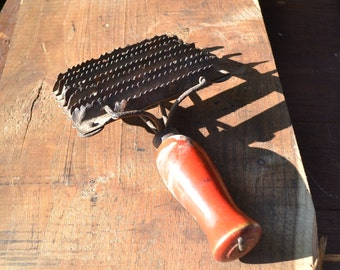 Curry comb, old tool, old rusty tool, old rusty iron, vintage tool, wood and iron tool, old iron brush, tool, weird tool, old italian tool