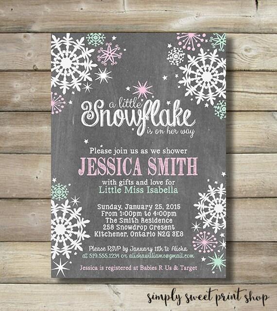 winter wonderland girl baby shower invite invitation pink mint white