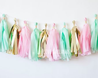 Pink Mint Gold Tassel Garland, Mint Pink Gold Garland, Mint Pink Birthday Party Decor, Mint Pink Baby Shower, Mint Pink Cake Smash, Bridal