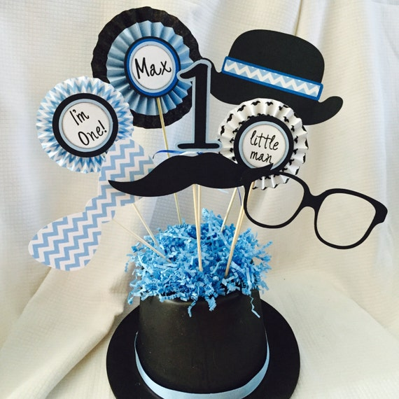 little man mustache 1st birthday centerpiece by poshboxparties
