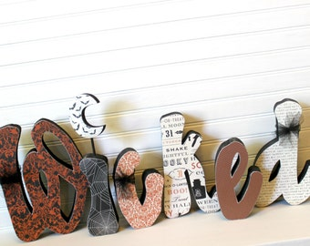 READY To SHIP Halloween Decoration Wicked Wood Letters Regular Halloween Wood Letters