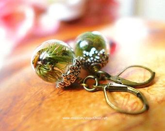 Plant Earrings, Green Earrings, Moss Earrings, Boho Earrings, Statement Earrings, Bohemian Earrings, Nature Handmade Jewelry, Earthy Jewelry