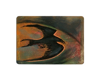 Mini Original Creepy Crow / Raven Painting on a Playing Card ATC / ACEO