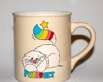 Vintage Rainbow Fluffy White Cat Coffee Mug