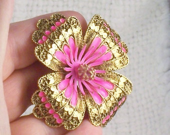 Vintage 60's Capri Gold and Hot Pink Enamel Flower Brooch Pin Mod 60's Capri Hot Pink Flower Pin