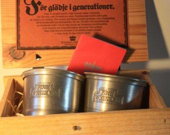 Scandia Tenn Karlshamn Pewter Cups in Original Packaging Crate - new