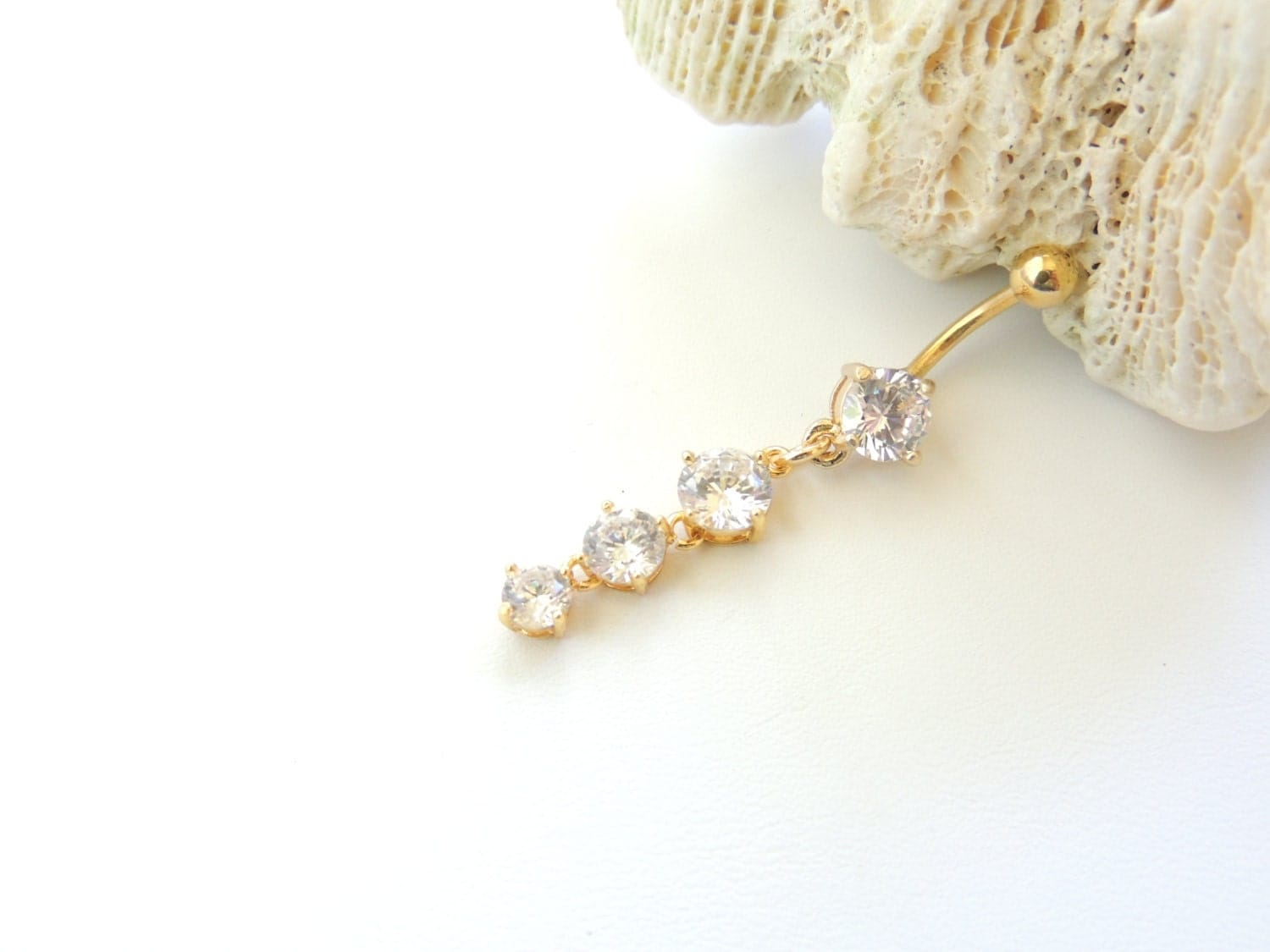 belly button jewelry gold belly ring cz dangle belly