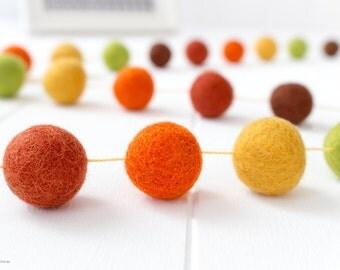 Thanksgiving Wool Felt Ball Garland. Fall Pom Pom Garland. Wool Ball Bunting. Green. Wood. Orange. Yellow. Autumn Decor Garland